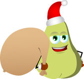 Pear as Santa Claus with a big sack Royalty Free Stock Image