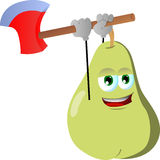 Pear with an axe Stock Image