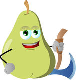 Pear with axe Royalty Free Stock Image