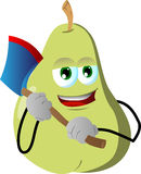 Pear with an axe Royalty Free Stock Photo