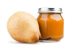 Pear baby puree Stock Photo
