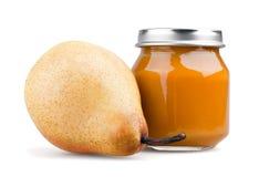 Pear baby puree Stock Photo