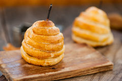 Pear baked in pastry Royalty Free Stock Images