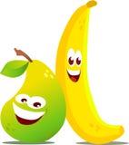 Pear and Banana. Illustration of a pear and banana characters Stock Photo
