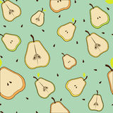 Pear beautiful seamless background. Pears with leaves bones beautiful seamless background Royalty Free Stock Images
