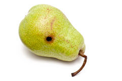 Pear with black hole Stock Image