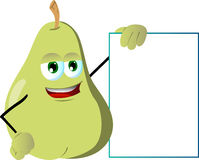 Pear with blank board Royalty Free Stock Photo