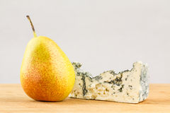 Pear and blue cheese close up Stock Images