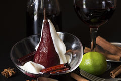 Pear boiled in red wine Royalty Free Stock Image