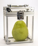 Pear in a Box. Image of a pear in a clear box Stock Photos
