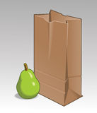 Pear and Brown Bag Stock Photos