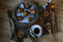 Pear cake with atmospheric attributes. royalty free stock images