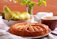Pear cake, served Royalty Free Stock Images