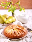Pear cake, served Stock Photos