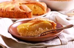 Pear cake, sliced and served Stock Photo