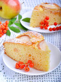 Pear cake. In white plate on white table Royalty Free Stock Image