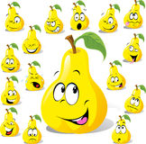 Pear cartoon with many expressions Stock Photos