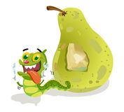 Pear with Caterpillar Cartoon Royalty Free Stock Photo