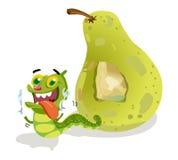 Pear with Caterpillar Cartoon Royalty Free Stock Photo