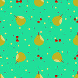 Pear and cherry seamless pattern. Vector seamless pattern. Repeating illustrations of pear and cherry in pattern Royalty Free Stock Photo