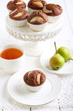 Pear and chocolate cakes Stock Photos