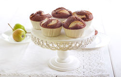 Pear and chocolate cakes Stock Image