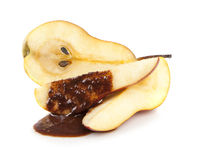 Pear with chocolate Royalty Free Stock Photos