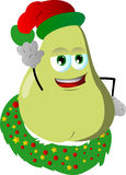 Pear with Christmas wreath and Santa hat Stock Photography