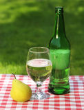 Pear cider and one pear Royalty Free Stock Image