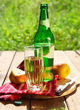 Pear cider and pears in the garden Royalty Free Stock Photography