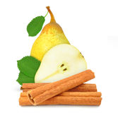 Pear and cinnamon Royalty Free Stock Images
