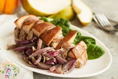 Pear cinnamon slow cooked porkloin Stock Image