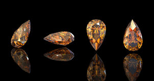 Pear. Citrine. Collections of jewelry gems Royalty Free Stock Photography