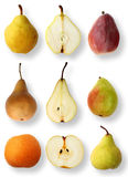 Pear collection. Selection of popular pears with pear halfs royalty free stock photo