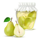 Pear compote in a jar and fresh pears Stock Photo