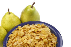 Pear and cornflakes Royalty Free Stock Image