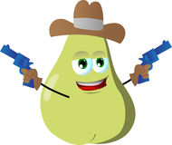 Pear cowboy with gun Royalty Free Stock Photos