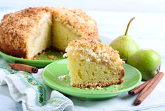 Pear crumble cake Royalty Free Stock Photography