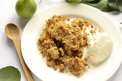 Pear Crumble with curd cream Royalty Free Stock Image