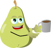 Pear with a cup of coffee Royalty Free Stock Photos