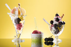 Pear cup, red grapes sundae and takeaway ice Royalty Free Stock Image