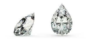 Pear Cut Diamond. (isolated on white Royalty Free Stock Images