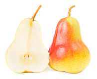 Pear cut in half isolated Stock Photos