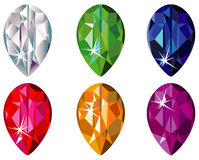 Pear cut precious stones with sparkle. Illustration of pear cut precious stones with sparkle Stock Images