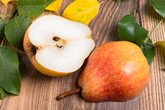 Pear cut into two halves Royalty Free Stock Photography
