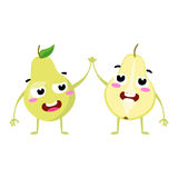 Pear. Cute fruit vector character couple isolated on white background. Funny emoticons faces. Illustration. Stock Image