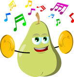 Pear with cymbals Royalty Free Stock Images