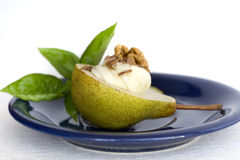 Pear dessert. Delicious pear dessert on plate Royalty Free Stock Photography