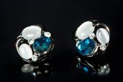 Pear Diamonds Earrings Royalty Free Stock Photos