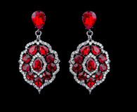 Pear Diamonds Earrings. red gems Royalty Free Stock Photos